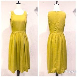 J. CREW Hilary Midi Dress Sleeveless Chartreuse